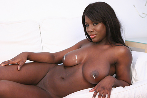 Shanice with cum on her black tits